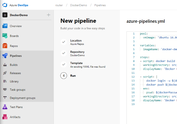 Azure DevOps: Create a Web App for Containers CI/Release pipeline