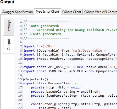 NSwag Tutorial: Generate an Angular TypeScript client from an